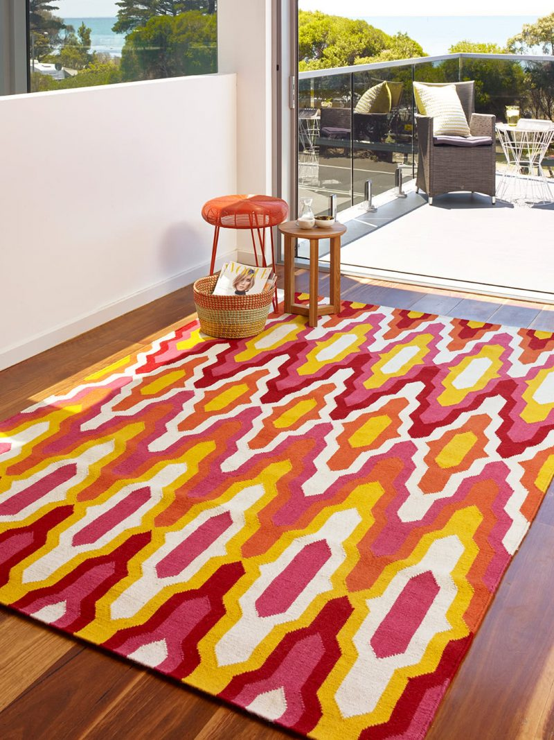 Amalfi Sunrise colourful flatweave rug lifestyle image