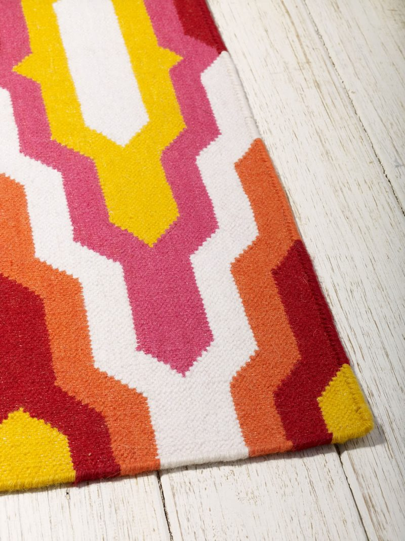 Amalfi Sunrise colourful flatweave rug corner image