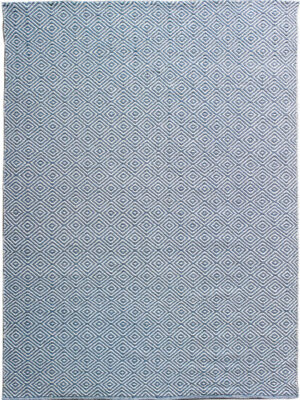 Diamond Blue White flatweave rug image