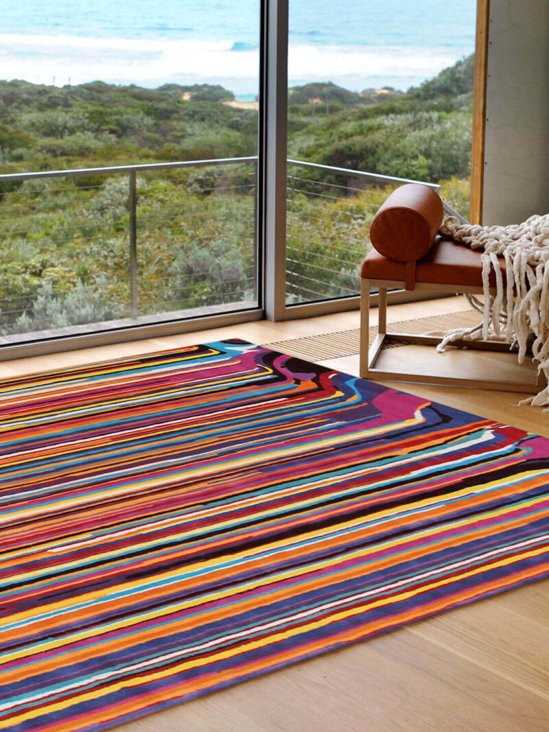 The Flamingo is a handtufted NZ wool blend rug in multi-colours.