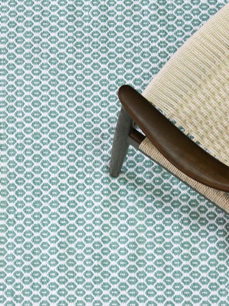 Hive Green White flatweave rug lifestyle image