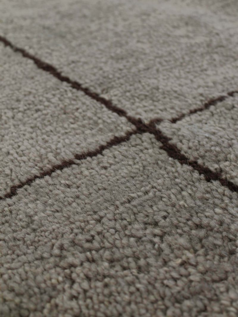 """Nordic Grid Brown. A soft plush-pile Moroccan inspired """"outside-the-lines"""" organic grid design. Hand-knotted in natural, 100% pure wool."""