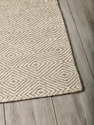 Braid Diamond Flatweave pure wool rug in Natural Beige colour