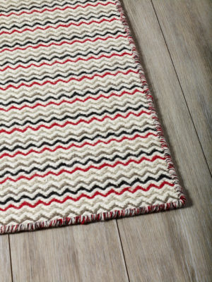Braid Ripple Natural Red flatweave rug corner image