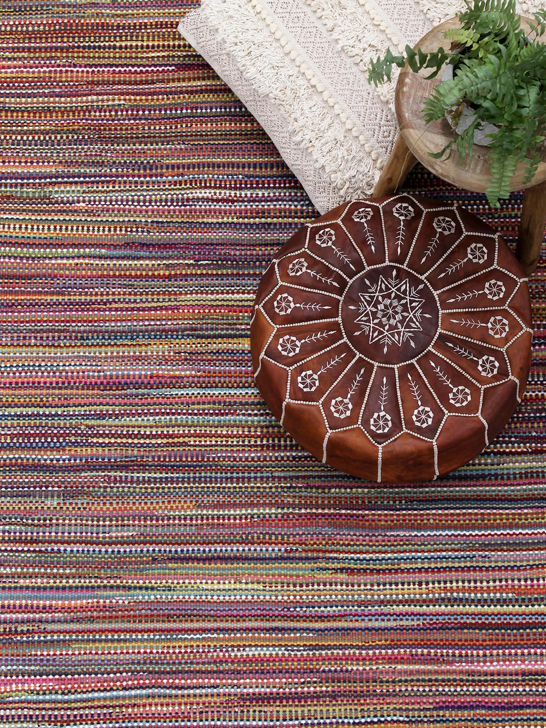 Braid Stripe Rainbow flatweave rug lifestyle image