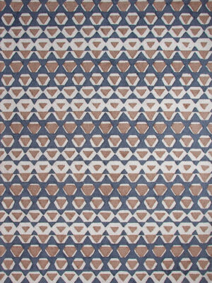 The Gypsy rug in Marble is a bold graphic design, handtufted in New Zealand wool blend with tones of beige, brown and blue