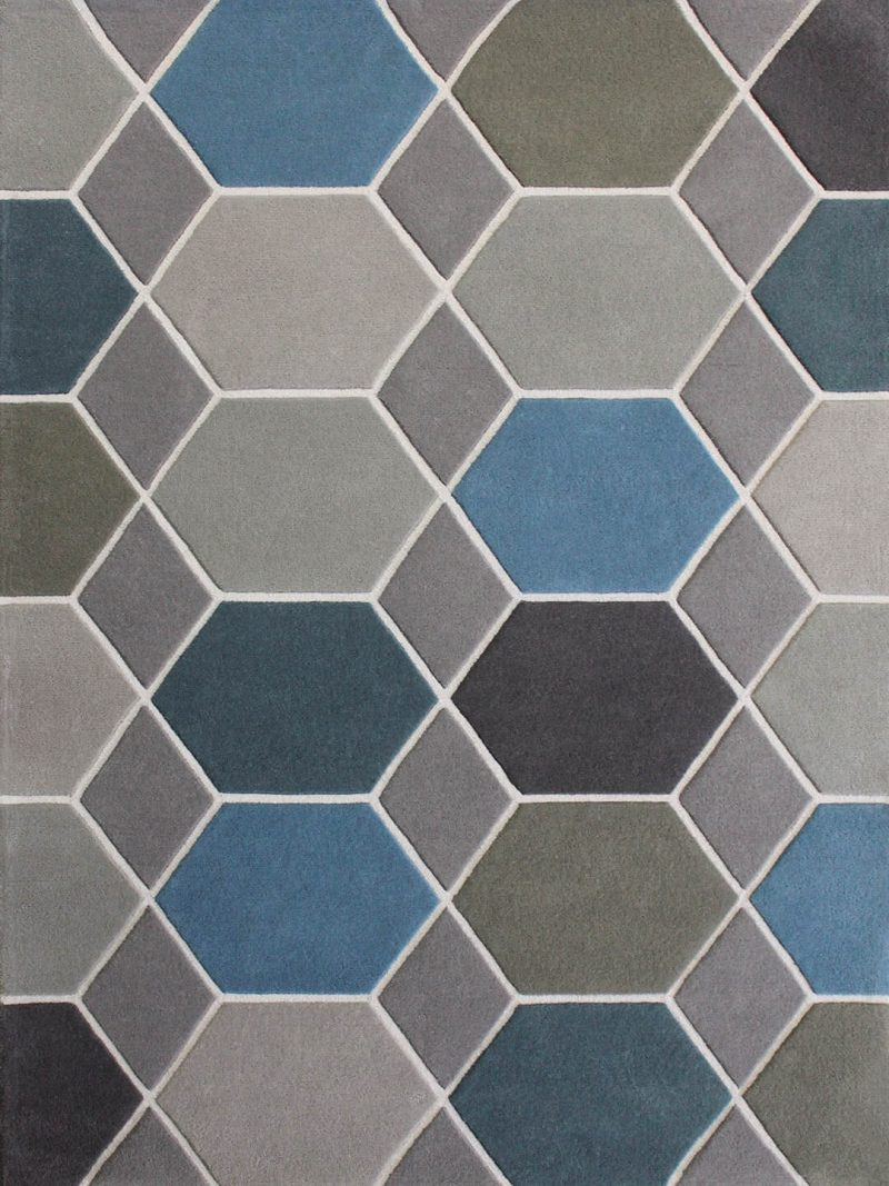 Hex Mangrove is a Grey, Blue and Cream mix blend made from Handtufted soft pure NZ Wool Blend with loop pile detail.