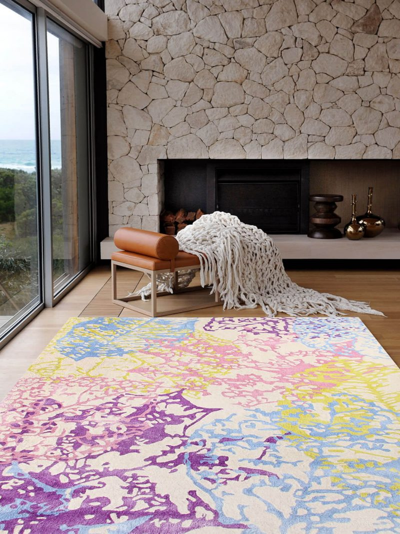 Impressions Pastel Multi Colour rug is a Luxurious New Zealand wool blend and Artsilk rug, with a leaf imprint design. Handtufted plush pile