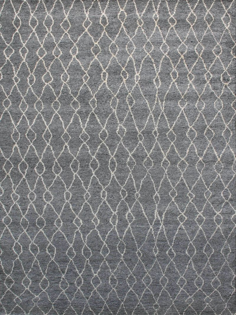 Nordic Allure Dark Grey. A soft plush-pile, Moroccan inspired design. Hand-knotted in natural and cosy 100% pure wool.