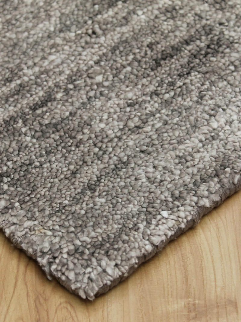 Plush light brown handloom knotted artsilk rug