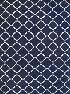 Provence french Navy Blue. Handtufted NZ Wool Blend and Artsilk in an elegant, classic trellis design.