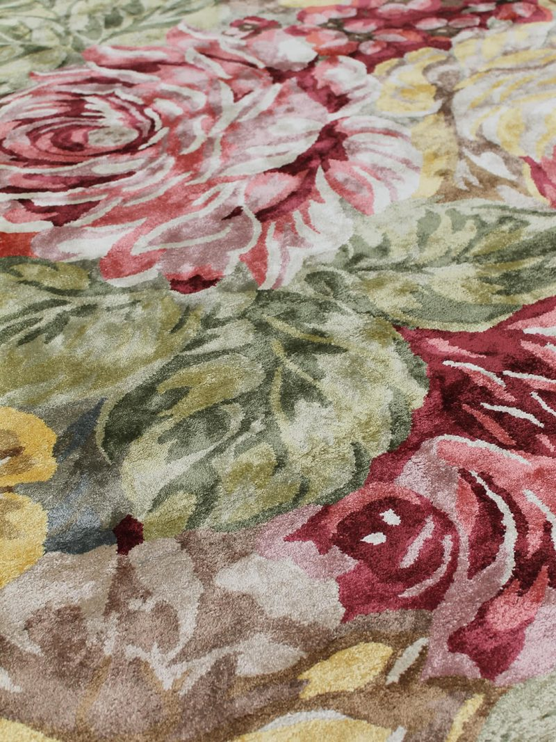 Romance forest green luxury floral rug handmade form artsilk