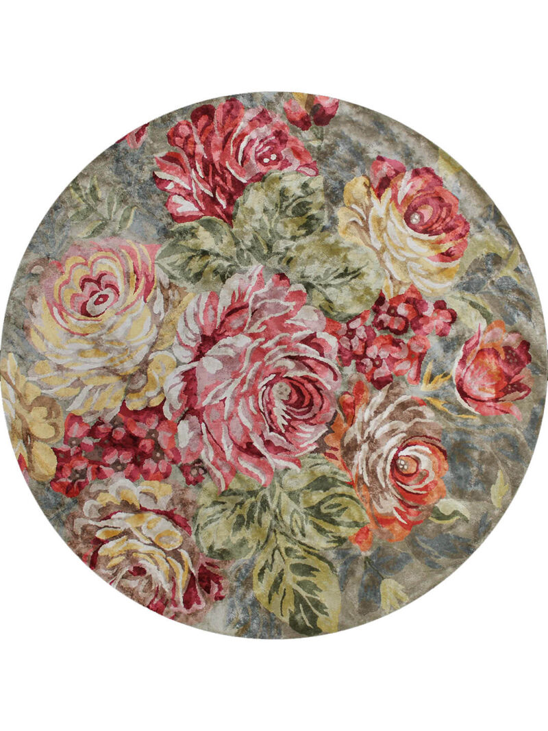 Romance Forest Green. Handtufted from 100% artsilk with colourful and romantic floral design.