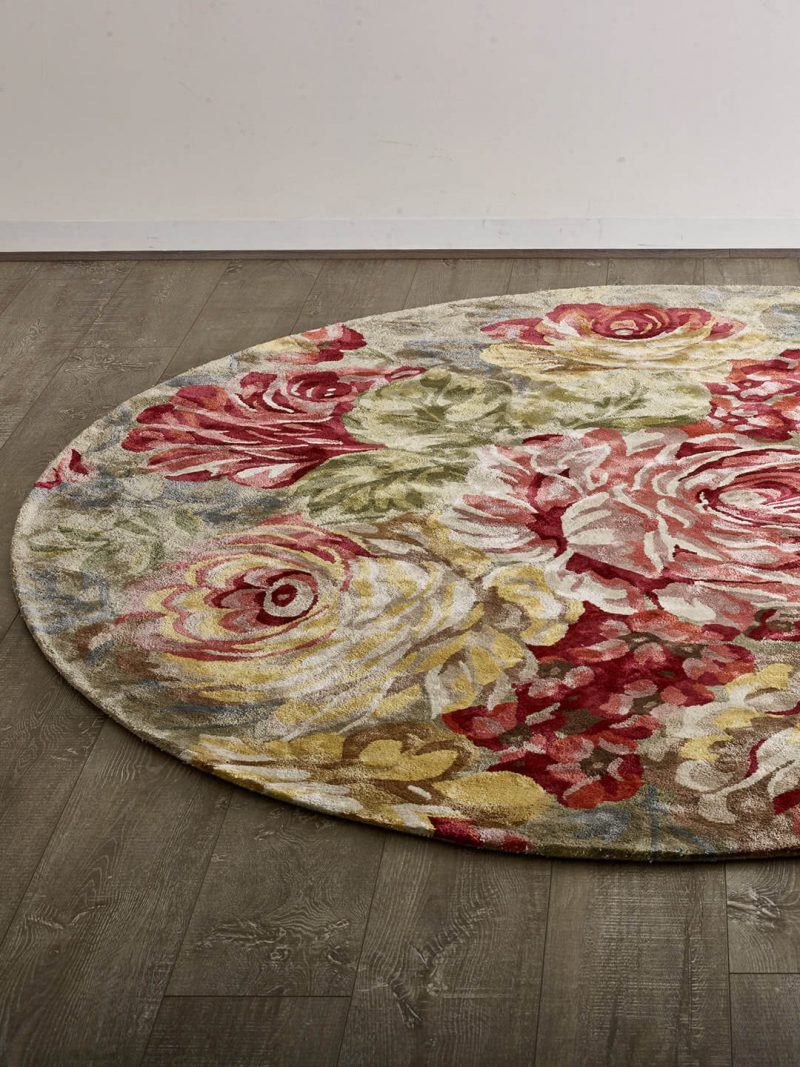Romance forest green luxury floral rug handmade form artsilk lifestyle image