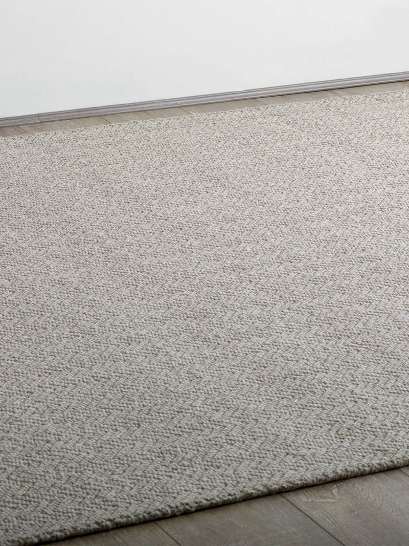 Salamanca Pigeon Grey. Hand woven pure wool rug, with a woven chevron pattern.