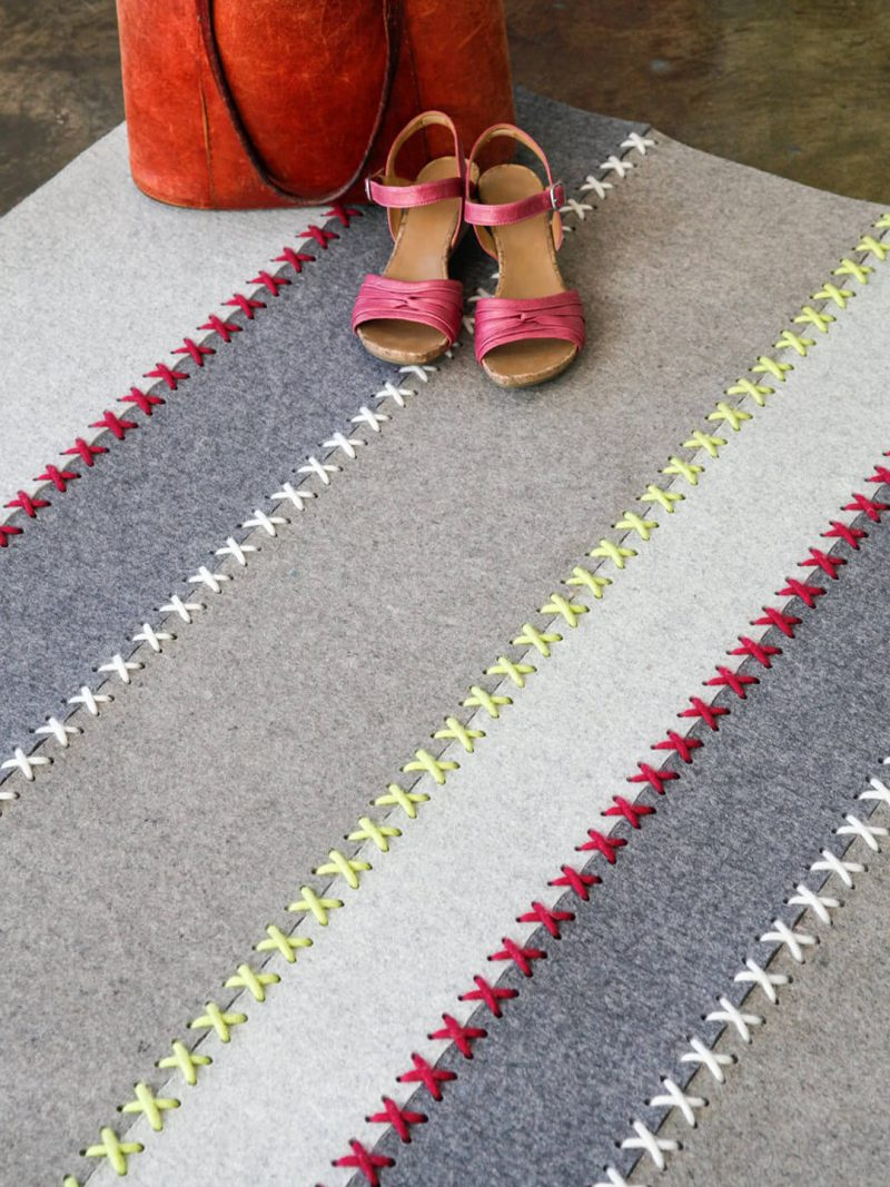 Belle Felted Wool rug in Taupe/Grey