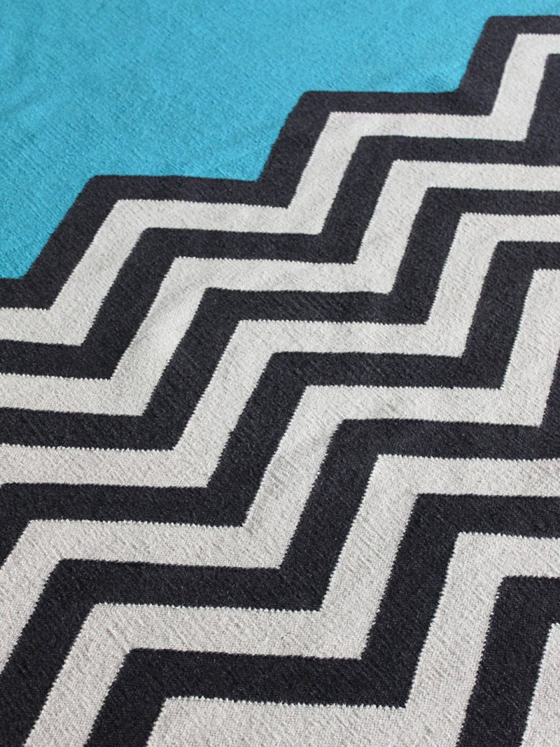 Chevron Block in Aqua. 100% Wool Flatweave Rug.