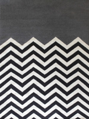 Chevron Block in Charcoal. 100% Wool Flatweave Rug.
