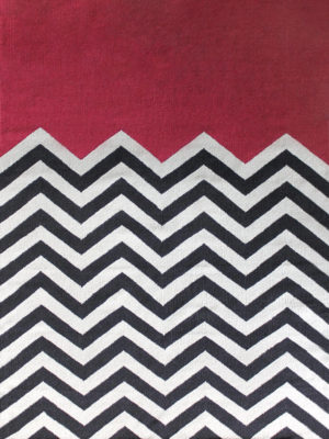 Chevron Block in Fuschia. 100% Wool Flatweave Rug.