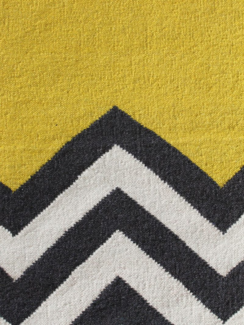Chevron Block in Yellow. 100% Wool Flatweave Rug.