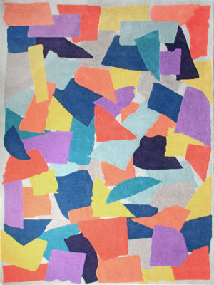 Home Work Collage Multi Colour Rug. Created by arranging torn up pieces of paper, which were then overlapped to produce the final design.