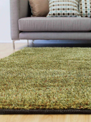 Nova in Hemp Green. Wool and Polyester Blend Rug.