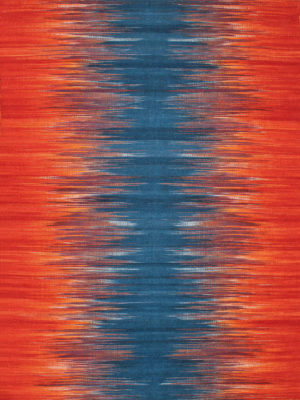 Orissa Blue, Orange 100% Wool Flatweave