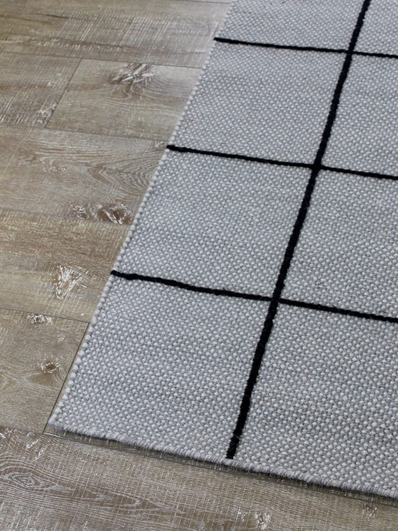 Resovle pewter rug by Shaynna Blaze handmade form pure wool in grey and black