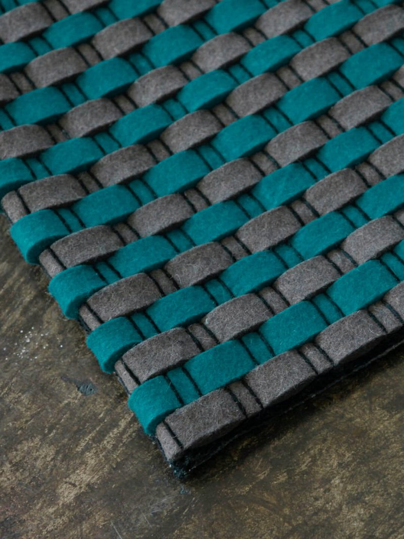 Vogue in Aqua/Grey. Felted Wool Rug
