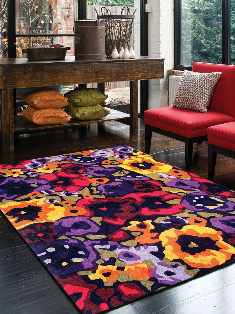 Poppy Field Spring vibrant colourful floral rug - lifestyle image.