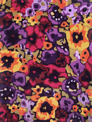Poppy Field Spring vibrant colourful floral rug - overhead image.