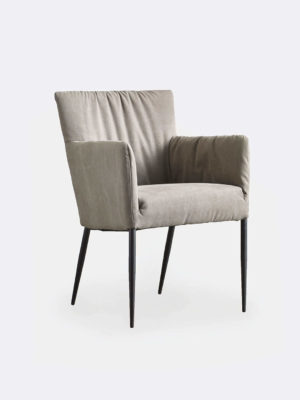 Sophie Dining Chair in Espresso. Fully upholstered dining chair with relax fitted stonewashed fabric and black powder-coated metal legs.
