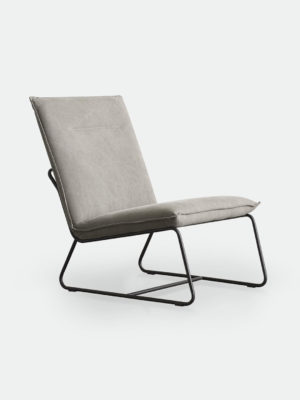 Ryder Occasional Chair in Espresso. Fully upholstered armless occasional chair with powdercoated black metal base. Upholstered seat in stonewashed fabric.