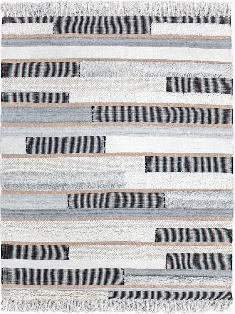 Kyoto Rose Gold handwoven wool and lurex rug with fringe edge