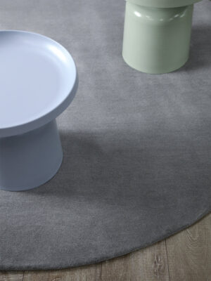 Neo round rug handmade 100% wool in grey
