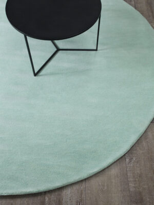 Neo round rug handmade 100% wool in pastel mint green