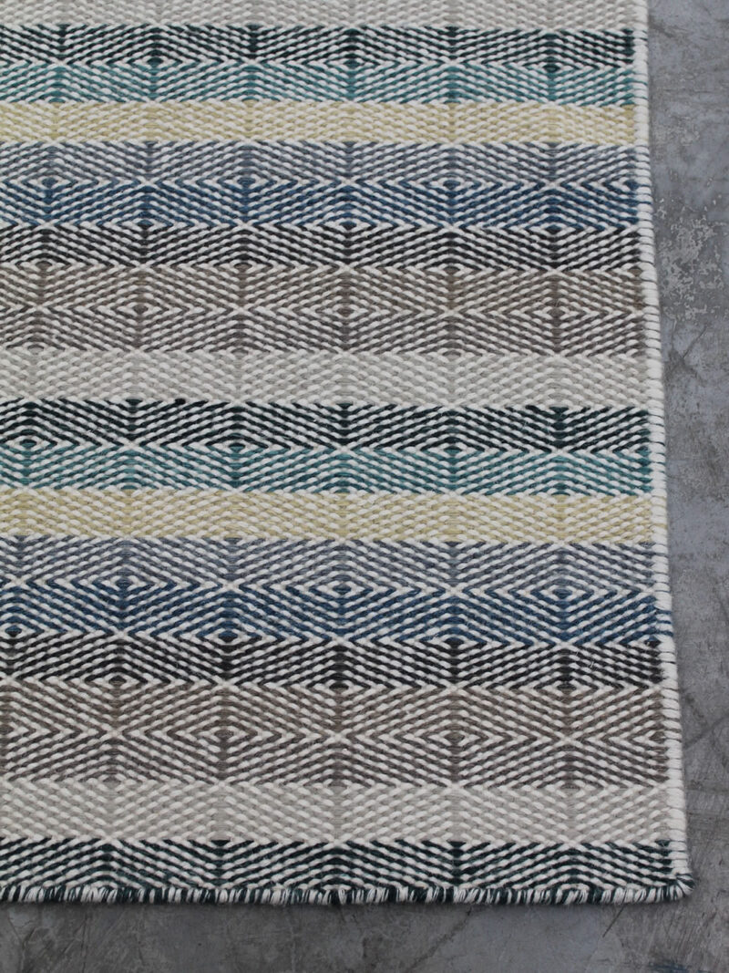 Braid Link handmade flatweave rug in Teal/Sand colours - corner image