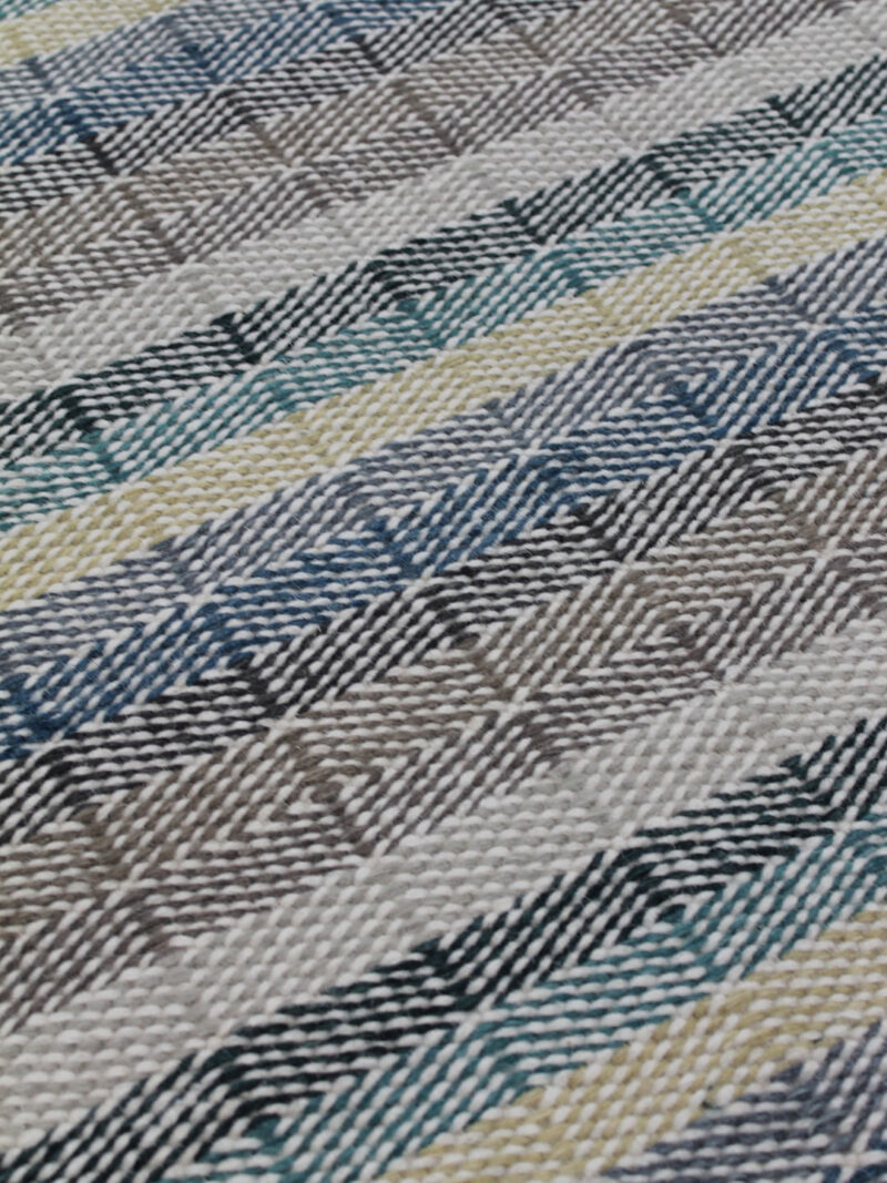 Braid Link handmade flatweave rug in Teal/Sand colours - detail image