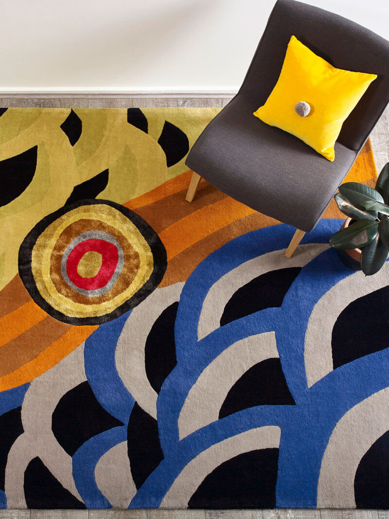 'Home' Indigenous Design multi-coloured rug handtufted in wool and artsilk - lifestyle image