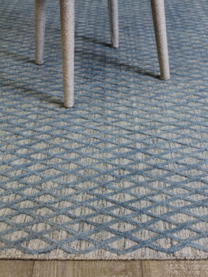 Kramer Silver rug with blue lattice pattern