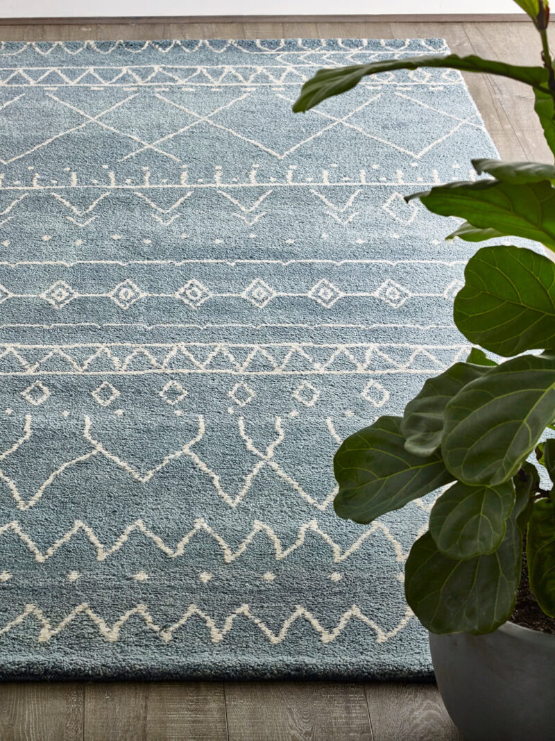 Nordic Agadir handknotted wool rug in Blue - lifestyle image