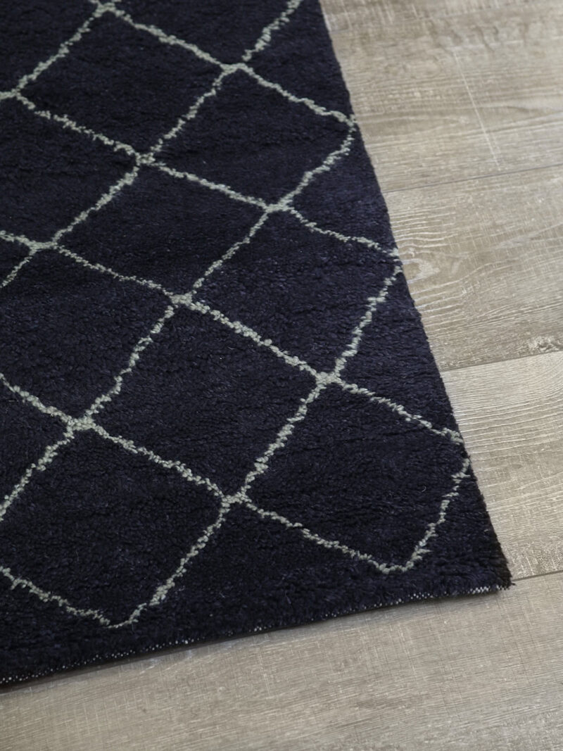 Nordic Diamond handknotted wool rug in Charcoal - corner image