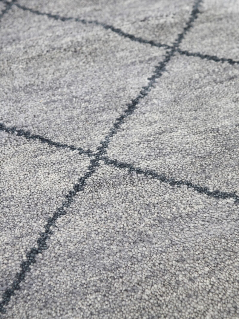 Nordic Diamond handknotted wool rug in Grey - detail image