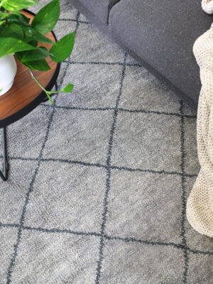 Nordic Diamond handknotted wool rug in Grey - lifestyle image