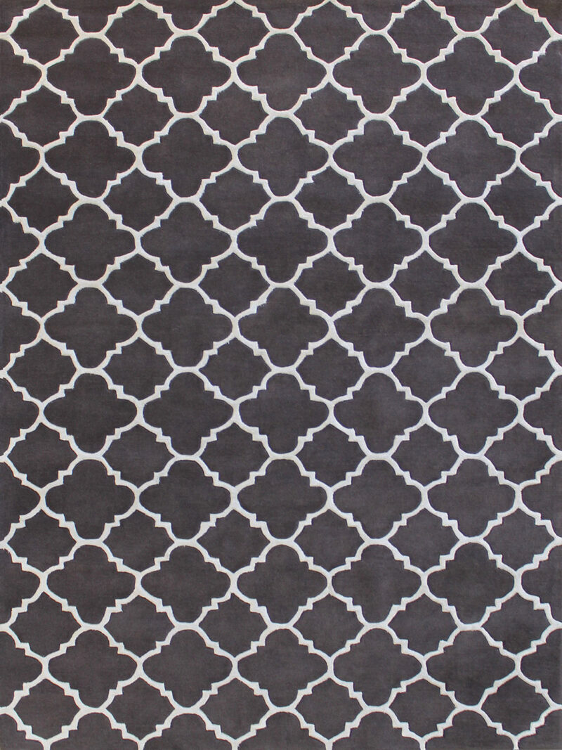 Provence Carbon rug in charcoal grey and white geometric design - overhead image