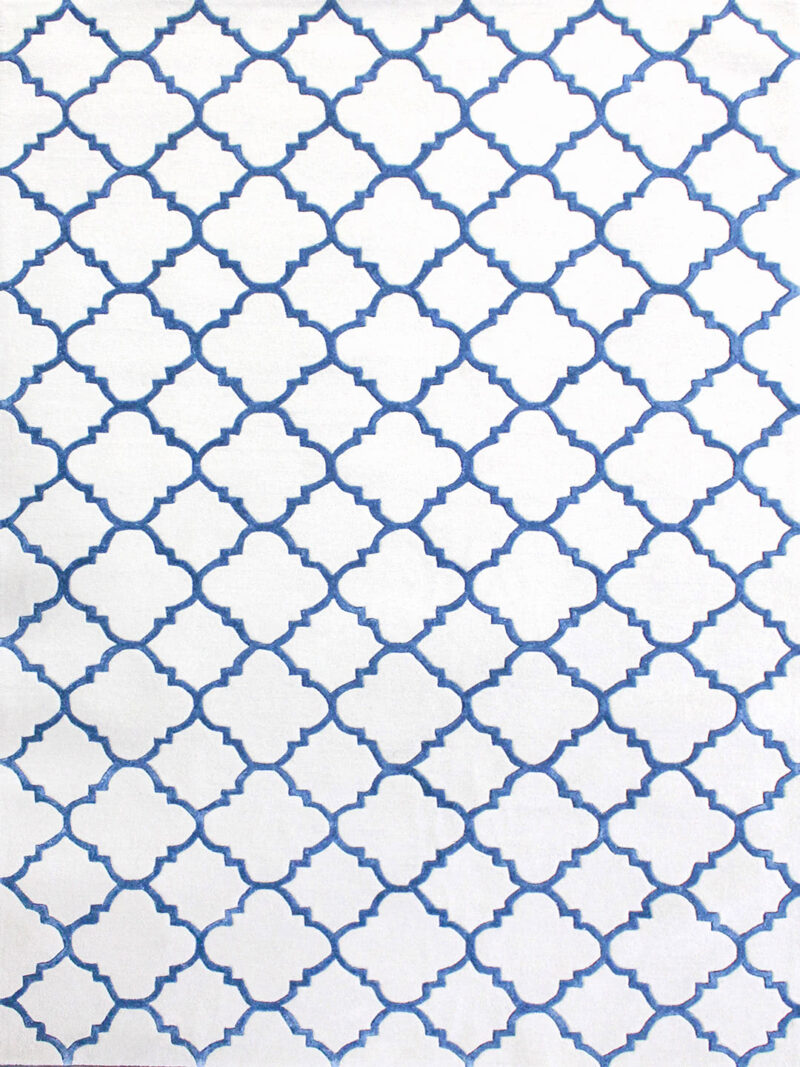 Provence Hummingbird rug in blue and white geometric design - overhead image