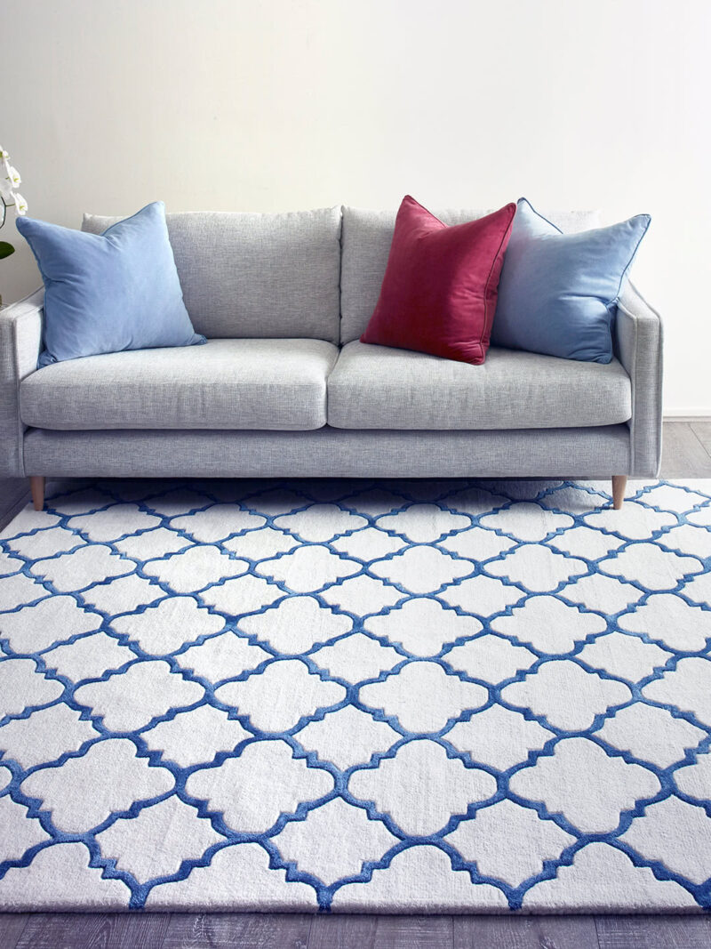 Provence Hummingbird rug in blue and white geometric design - lifestyle image