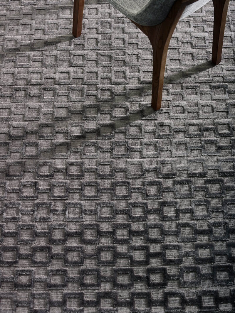 Connection Charcoal textured rug - lifestyle image