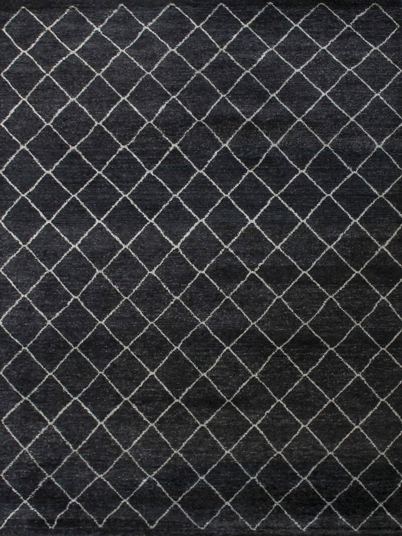 Nordic Diamond handknotted wool rug in Charcoal - overhead image