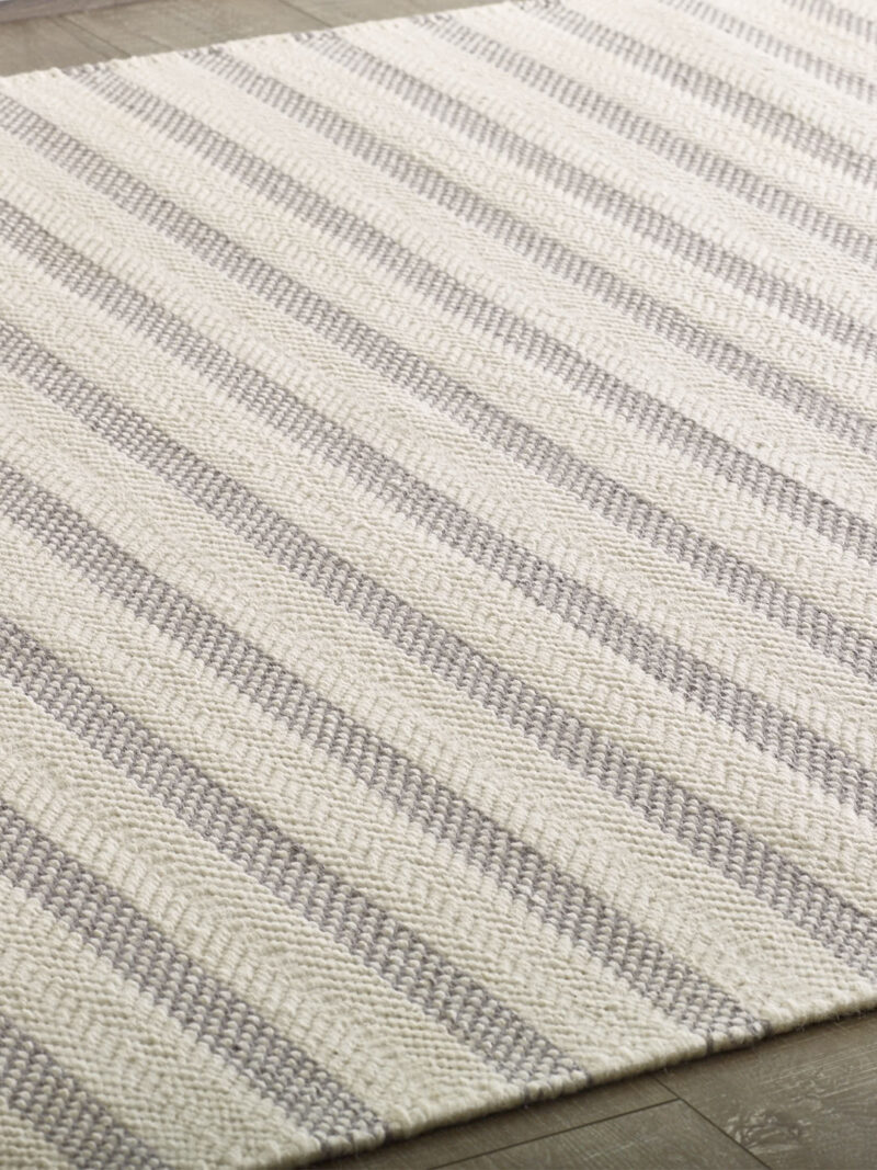 Braid Silhouette Stripe Ivory/Grey flatweave rug handmade in 100% wool